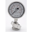 náhled produktu Stainless steel manometer with separating membrane, union DIN 11851, dial 100 mm, Nut DN32 | 0-10 bar