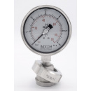 náhled produktu Stainless steel manometer with separating membrane, union DIN 11851, dial 100 mm, Nut DN32 | 0-6 bar