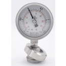 náhled produktu Stainless steel manometer with separating membrane, union DIN 11851, dial 100 mm, Nut DN32 | -1/1,5 bar